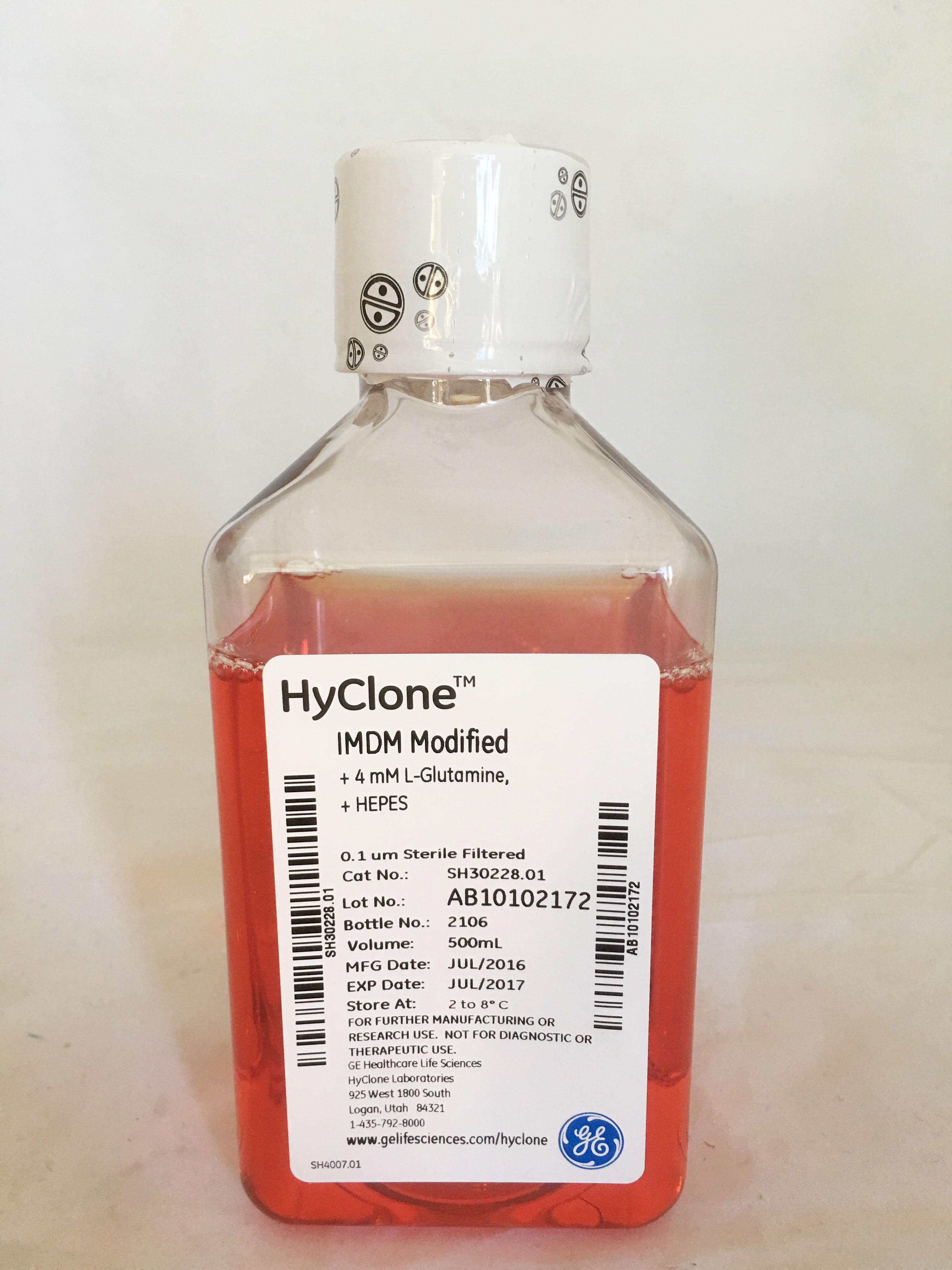 IMDM with L-Glutamine,HEPES,without Alpha-Thioglycerol(美国原装进口),500ml  SH30228.01(替代原国产分装产品SH30228.01B) HyClone