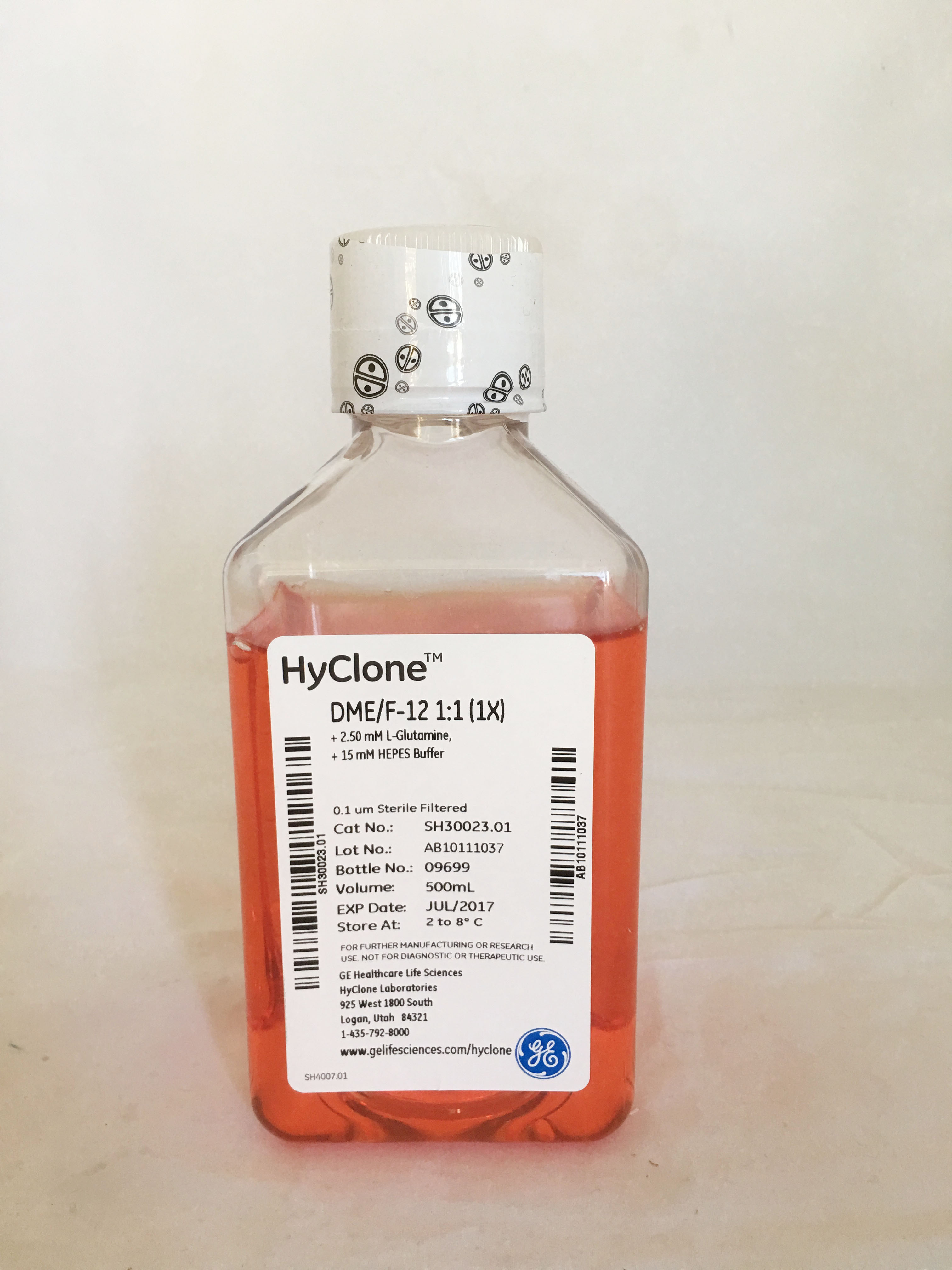 DMEM/F12(D/F12)培养基 1:1(美国原装进口), 500ml SH30023.01(替代原国产分装产品SH30023.01B),含2.50 mM L-谷氨酰胺,15 mM HEPES  HyClone